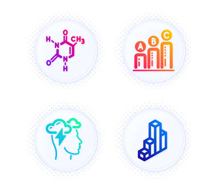 Chemical formula, Graph chart and Mindfulness stress icons simple set. Button with halftone dots. 3d chart sign. Chemistry, Growth report, Cloud storm. Presentation column. Science set. Vector
