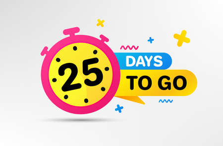 Twenty five days left icon. Countdown left days banner with timer. 25 days to go sign. Sale announcement banner. Count time for promotional offer. Promotion countdown timer. Vector