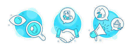 Prescription drugs, Night cream and Water drop line icons set. Handshake deal, research and promotion complex icons. Oil drop sign. Pills, Face lotion, Serum oil. Serum. Healthcare set. Vector Ilustracja