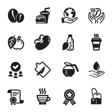 Set of Food and drink icons, such as Water bottle, Coffee. Certificate, approved group, save planet. Tea bag, Hamburger, Cafe creme. Coffeepot, Beans, Coffee beans. Vector