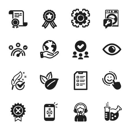 Set of Technology icons, such as Support, Chemistry lab. Certificate, approved group, save planet. Mail, Hypoallergenic tested, Reject medal. Washing machine, Eye, Seo gear. Vector