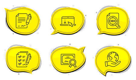 Scroll down sign. Diploma certificate, save planet chat bubbles. Signing document, Seo file and Survey checklist line icons set. Contract, Search document, Report. Landing page. Technology set. Vector