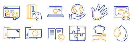 Set of Business icons, such as Payment card, Recovery computer. Certificate, save planet. Food, Oil drop, Hand. Seo certificate, Copyright, Puzzle. Seo laptop, Computer line icons. Vector