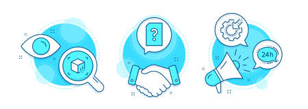 Seo gear, Unknown file and Augmented reality line icons set. Handshake deal, research and promotion complex icons. 24h service sign. Cogwheel, Doc with question mark, Virtual reality. Vector