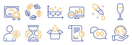 Set of Business icons, such as Quote bubble, Dot plot. Certificate, save planet. User idea, Candlestick chart, Chemistry pipette. Get box, Organic tested, Report. Vector