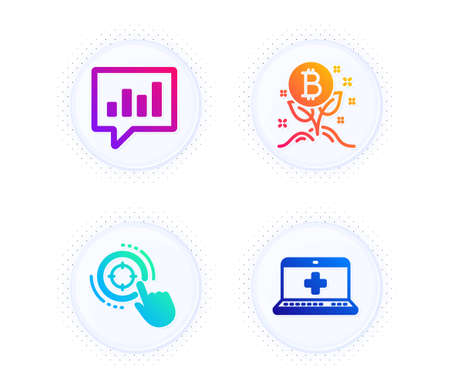 Bitcoin project, Analytical chat and Seo target icons simple set. Button with halftone dots. Medical help sign. Cryptocurrency startup, Communication speech bubble, Click aim. Medicine laptop. Vector Ilustração