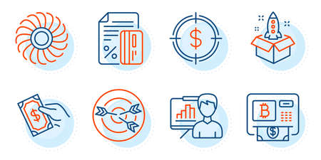 Pay money, Startup and Credit card signs. Dollar target, Presentation board and Bitcoin atm line icons set. Targeting, Fan engine symbols. Aim with usd, Growth chart. Finance set. Vector