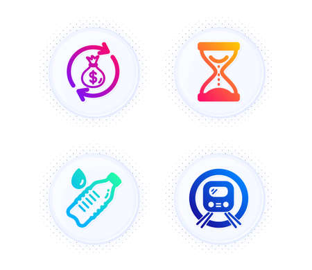Money exchange, Time hourglass and Water bottle icons simple set. Button with halftone dots. Metro subway sign. Cash in bag, Sand watch, Still drink. Underground. Business set. Vector