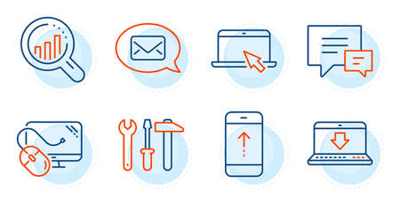 Messenger, Seo analysis and Internet downloading signs. Swipe up, Comment and Computer mouse line icons set. Portable computer, Spanner tool symbols. Scrolling screen, Talk bubbles. Vector Ilustração