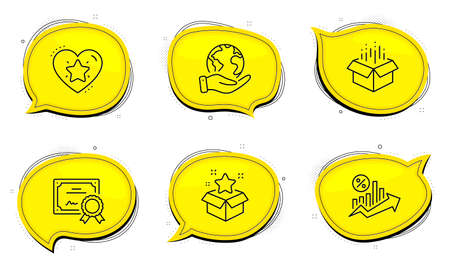 Loyalty program sign. Diploma certificate, save planet chat bubbles. Ranking star, Open box and Loan percent line icons set. Love rank, Delivery package, Growth chart. Bonus star. Vector