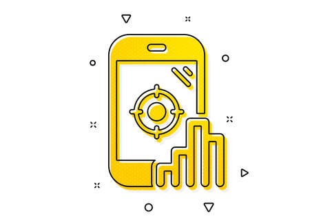 Search engine optimization sign. Seo phone icon. Aim target symbol. Yellow circles pattern. Classic seo phone icon. Geometric elements. Vector