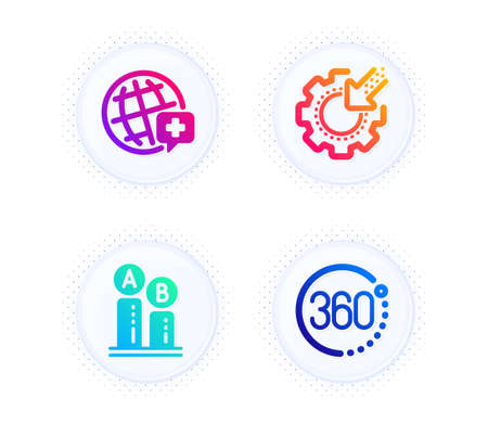 World medicine, Ab testing and Seo gear icons simple set. Button with halftone dots. 360 degrees sign. Online medicine, Test chart, Cogwheel. Full rotation. Science set. Vector