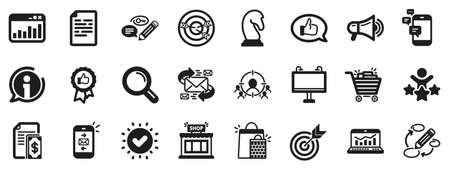 Set of Strategy target, Feedback, Advertisement campaign icons. Marketing, research icons. Research marketing, Communication and Keywords. Chess Knight, Target, Mail. Business strategy. Vector
