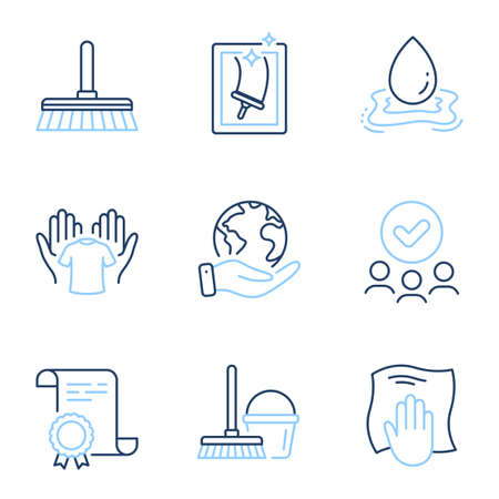 Cleaning mop, Water splash and Washing cloth line icons set. Diploma certificate, save planet, group of people. Hold t-shirt, Bucket with mop and Window cleaning signs. Vector