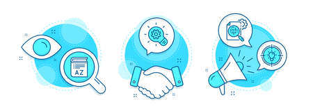 Cogwheel, Seo stats and Vocabulary line icons set. Handshake deal, research and promotion complex icons. Idea sign. Idea bulb, Cogwheel, Book. Solution. Science set. Vector