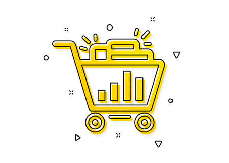 Search engine optimization sign. Seo shopping cart icon. Analytics symbol. Yellow circles pattern. Classic seo shopping icon. Geometric elements. Vector Ilustração