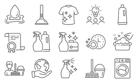 Set of Cleaning icons, such as Washing machine, Shampoo. Diploma, ideas, save planet. Dishwasher timer, Washing cleanser, Cleanser spray. Plunger, Bucket with mop, Water splash. Vector