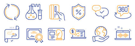 Set of Technology icons, such as Loan percent, Chemistry lab. Certificate, save planet. Payment card, Target path, Approved. Seo strategy, Online accounting, Refresh. Vector