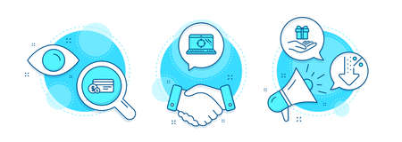 Low percent, Loyalty program and Seo laptop line icons set. Handshake deal, research and promotion complex icons. Payment method sign. Discount, Gift, Search engine. Cash or non-cash payment. Vector