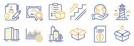 Set of Industrial icons, such as Operational excellence, Lighthouse. Certificate, save planet. Technical info, Parcel checklist, Send box. Buildings, Skyscraper buildings, Algorithm. Vector