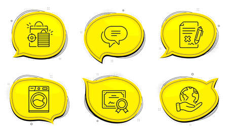 Text message sign. Diploma certificate, save planet chat bubbles. Reject file, Seo shopping and Washing machine line icons set. Decline agreement, Analytics, Laundry service. Chat bubble. Vector