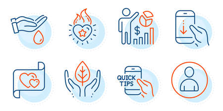 Wash hands, Avatar and Seo statistics signs. Education, Heart flame and Love letter line icons set. Fair trade, Scroll down symbols. Quick tips, Love fire. People set. Outline icons set. Vector Ilustração