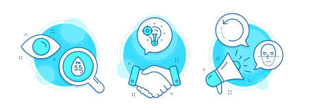 Seo idea, Ph neutral and Face recognition line icons set. Handshake deal, research and promotion complex icons. Recovery data sign. Performance, Water, Faces biometrics. Backup info. Vector