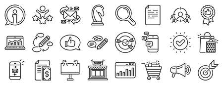 Set of Strategy target, Feedback, Advertisement campaign icons. Marketing, research line icons. Research marketing, Communication and Keywords. Chess Knight, Target, Mail. Business strategy. Vector Vettoriali