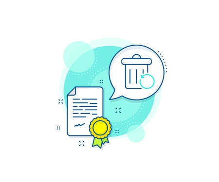 Backup data sign. Certification complex icon. Recovery trash bin line icon. Restore information symbol. Certificate or diploma document. Recovery trash sign. Vector Vecteurs