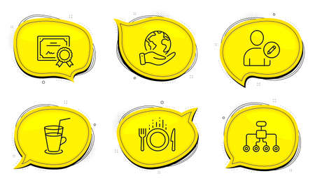 Cocktail sign. Diploma certificate, save planet chat bubbles. Food, Restructuring and Edit user line icons set. Cutlery, Delegate, Profile data. Fresh beverage. Business set. Outline icons set. Vector