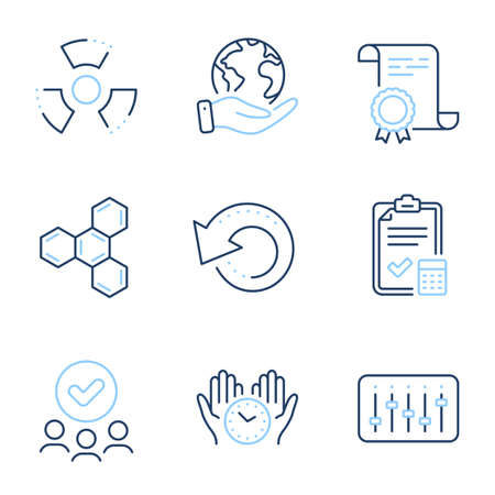 Recovery data, Dj controller and Chemical hazard line icons set. Diploma certificate, save planet, group of people. Safe time, Accounting checklist and Chemical formula signs. Vector
