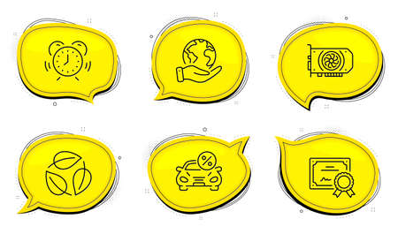 Gpu sign. Diploma certificate, save planet chat bubbles. Car leasing, Leaves and Time management line icons set. Transport discount, Nature leaf, Alarm clock. Graphic card. Business set. Vector