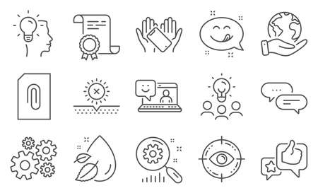 Set of Business icons, such as Eye target, Smartphone holding. Diploma, ideas, save planet. Smile, Cogwheel, Like. Search statistics, Water drop, No sun. Attachment, Dots message, Idea. Vector Ilustração Vetorial