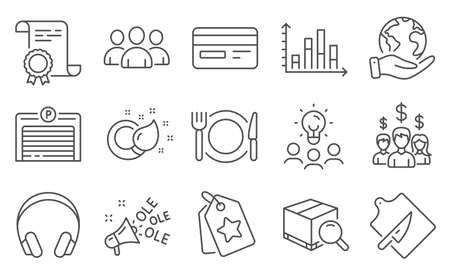 Set of Business icons, such as Salary employees, Group. Diploma, ideas, save planet. Parking garage, Restaurant food, Search package. Ole chant, Cutting board, Paint brush. Vector