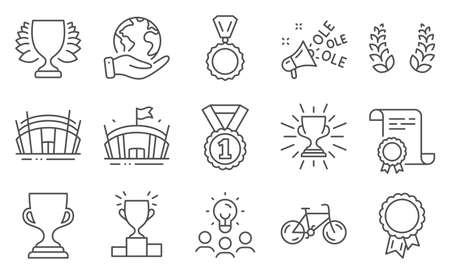Set of Sports icons, such as Arena stadium, Award cup. Diploma, ideas, save planet. Arena, Best rank, Bicycle. Winner podium, Winner, Ole chant. Medal, Laurel wreath, Success. Vector