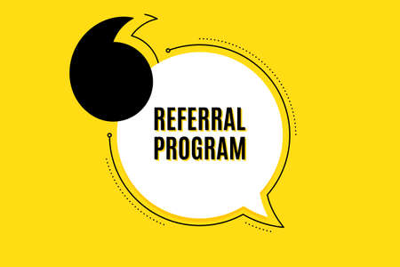 Quote banner with text. Referral program symbol. Refer a friend sign. Advertising reference. Texting quote template. Creative quotation marks design. Repetition statement. Vector