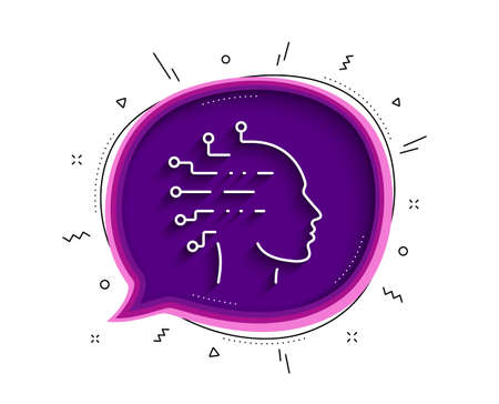 Artificial intelligence line icon. Chat bubble with shadow. Ai head sign. Robotic intellect symbol. Thin line artificial intelligence icon. Vector
