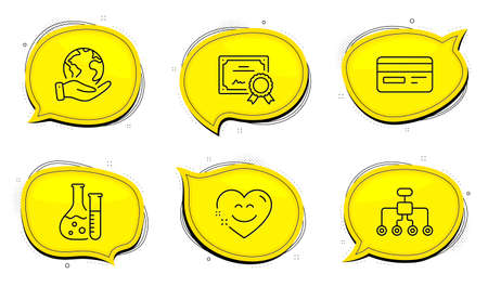 Credit card sign. Diploma certificate, save planet chat bubbles. Smile chat, Chemistry lab and Restructuring line icons set. Heart face, Laboratory, Delegate. Card payment. Technology set. Vector Çizim