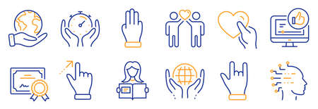 Set of People icons, such as Friends couple, Like video. Certificate, save planet. Woman read, Organic tested, Touchscreen gesture. Horns hand, Three fingers, Timer. Vector