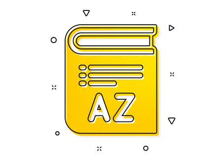 Book glossary sign. Vocabulary icon. Yellow circles pattern. Classic vocabulary icon. Geometric elements. Vector Ilustração