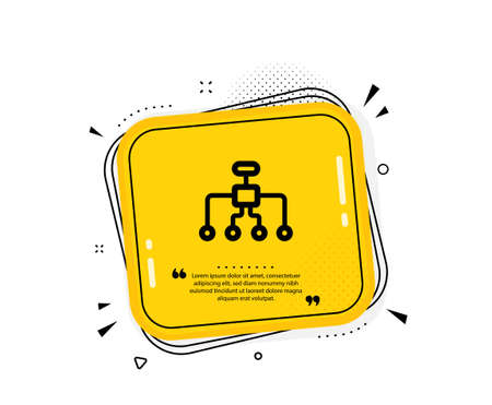 Restructuring icon. Quote speech bubble. Business architecture sign. Delegate symbol. Quotation marks. Classic restructuring icon. Vector