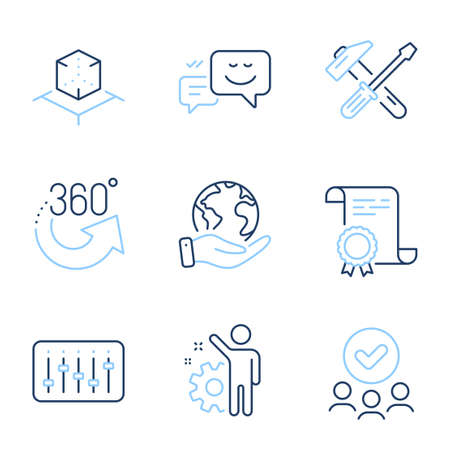 360 degrees, Augmented reality and Dj controller line icons set. Diploma certificate, save planet, group of people. Employee, Hammer tool and Happy emotion signs. Vector