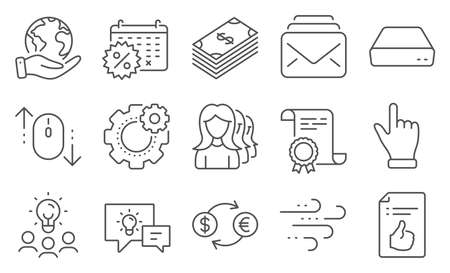 Set of Business icons, such as Calendar discounts, Scroll down. Diploma, ideas, save planet. Cogwheel, Mail, Windy weather. Idea lamp, Dollar, Women headhunting. Vector