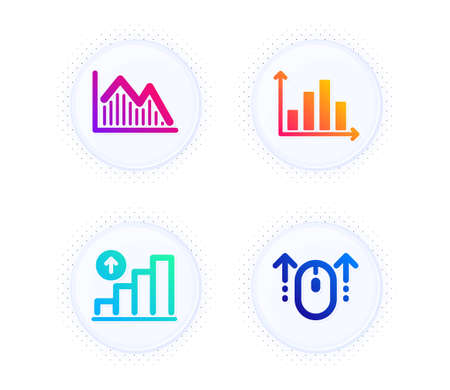 Diagram graph, Investment graph and Swipe up icons simple set. Button with halftone dots. Presentation chart, Investment infochart, Growth report. Scrolling page. Science set. Vector Ilustração