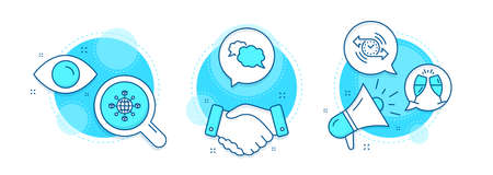 Champagne glasses, Logistics network and Messenger line icons set. Handshake deal, research and promotion complex icons. Timer sign. Chin-chin, International tracking, Speech bubble. Stopwatch. Vector