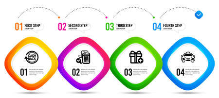 Add gift, Bill accounting and Cashback icons simple set. Timeline infographic. Taxi sign. Present box, Audit report, Refund commission. Public transportation. Business set. Vector