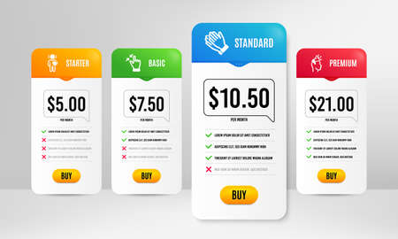 Clapping hands, Friend and Touchscreen gesture icons simple set. Price table template. Brand ambassador sign. Clap, Love, Zoom out. Megaphone. People set. Vector