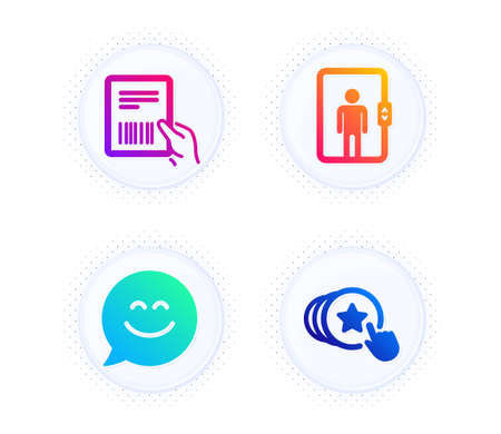Smile chat, Elevator and Parcel invoice icons simple set. Button with halftone dots. Hold heart sign. Happy face, Office transportation, Delivery document. Love brand. People set. Vector