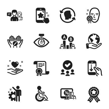 Set of People icons, such as Face verified, Scroll down. Certificate, approved group, save planet. Medical tablet, Employee, People talking. Hold heart, Disability, Eye laser. Vector