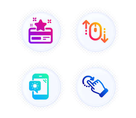 Scroll down, Weather phone and Loyalty card icons simple set. Button with halftone dots. Rotation gesture sign. Mouse swipe, Travel device, Bonus points. Undo. Technology set. Vector Ilustração